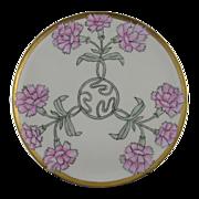 "Haviland Limoges Art Nouveau Carnation Motif Plate (Signed ""Bessie Rutledge""/c.1894-1931)"