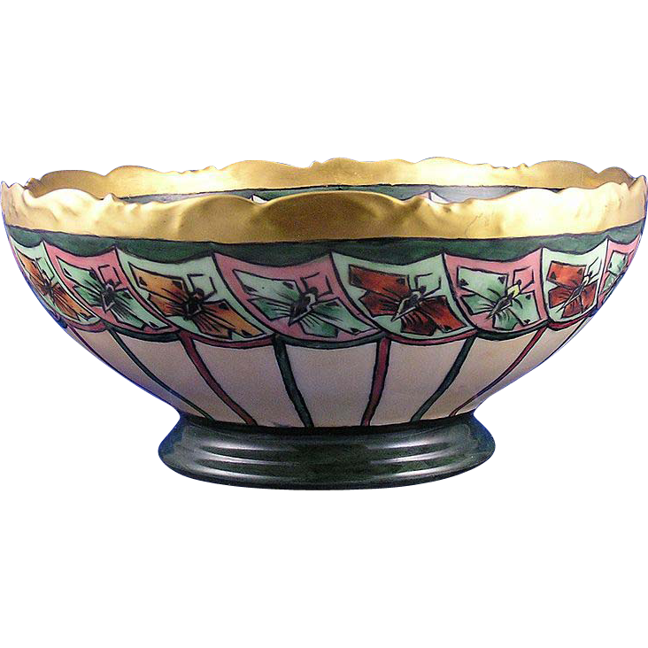 "T&V Limoges Arts & Crafts Butterfly Motif Centerpiece/Punch Bowl (Signed ""L. Chickesten""/c.1892-1907)"
