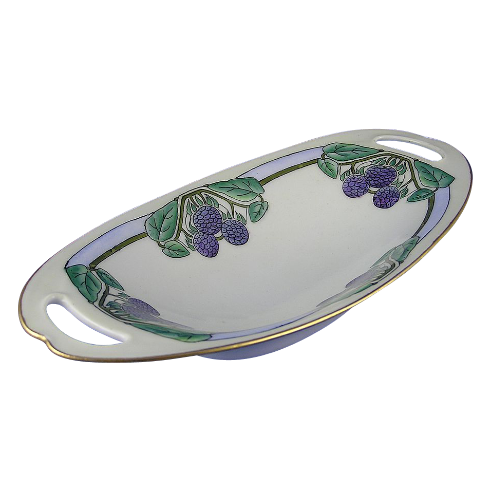 Porcelaine Limousine (PL) Limoges Blackberry Motif Handled Dish (Signed/c.1905-1930)