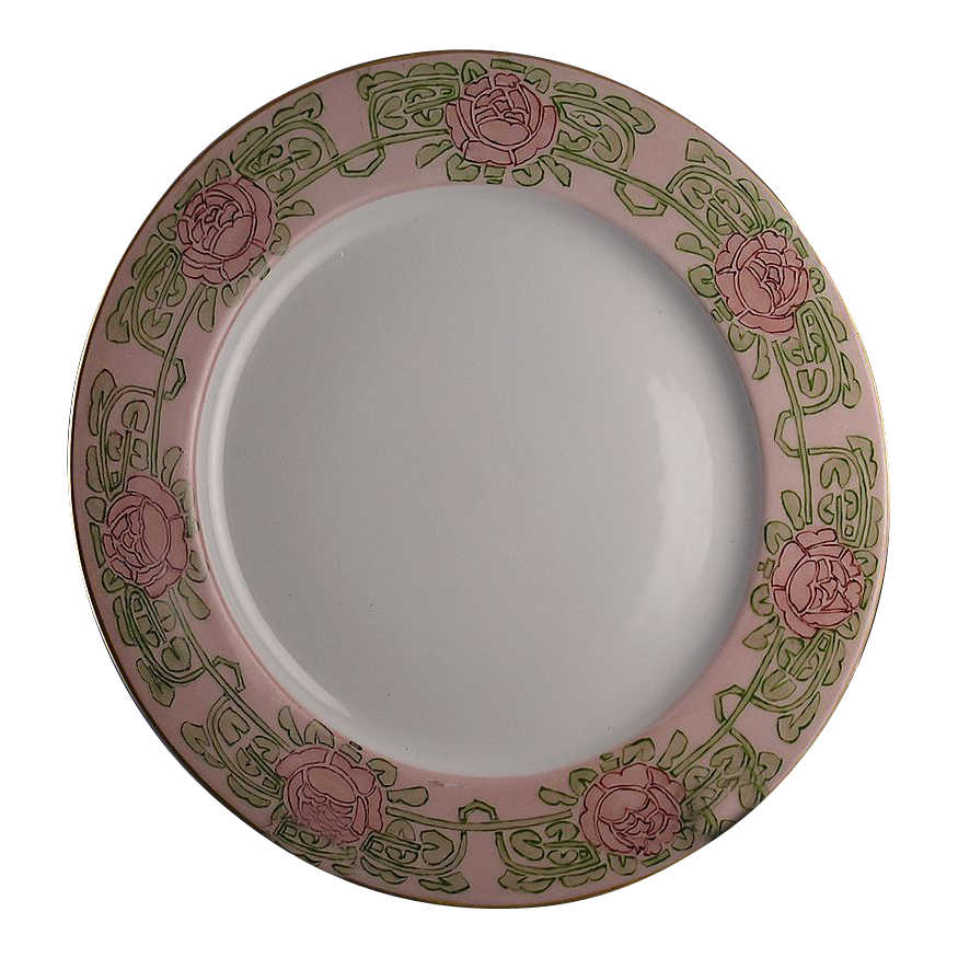 "Paroutaud Freres (P.P.) Limoges Arts & Crafts Rose Motif Plate (Signed ""CM Harrison""/c.1903-1917)"