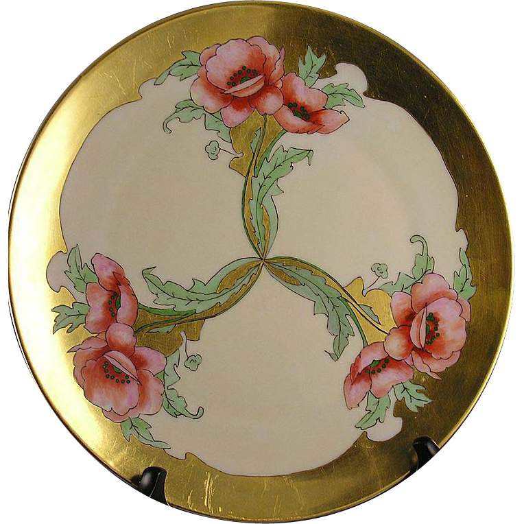 "Thomas Bavaria Arts & Crafts Poppy Motif Plate (Signed ""S. Hilmer""/c.1908-1920)"