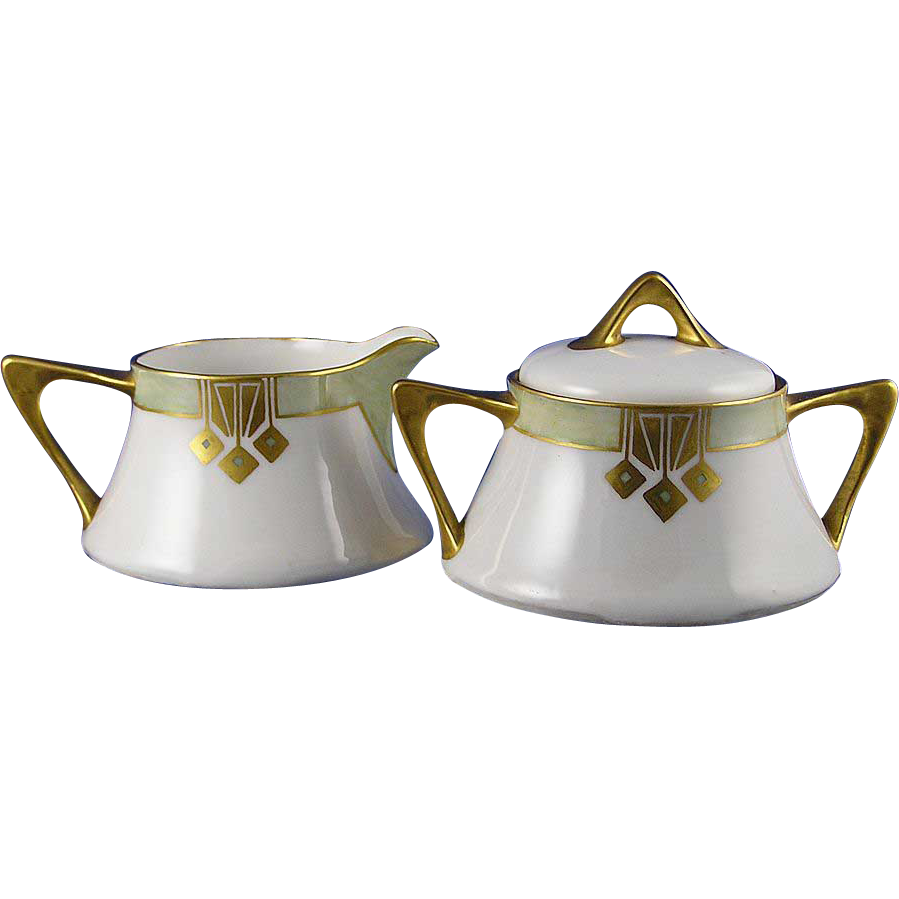 "Zeh, Scherzer & Co. (ZS&Co.) Bavaria Art Deco Creamer & Sugar (Signed ""Hildegard""/Dated 1932)"