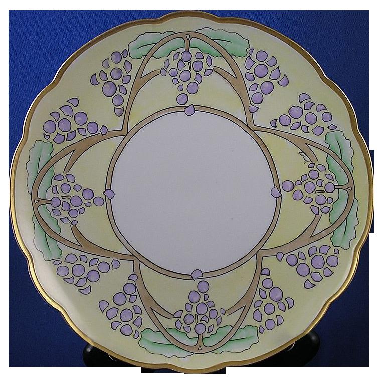 "Moritz Zdekauer (MZ) Austria Art Deco Grape Motif Plate (Signed ""Pomeroy""/c.1884-1909)"