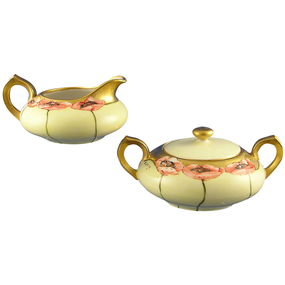"Porcelain Limousine (PL) Limoges Poppy Motif Creamer & Sugar Set (Signed ""M. Avery""/c.1905-1930)"