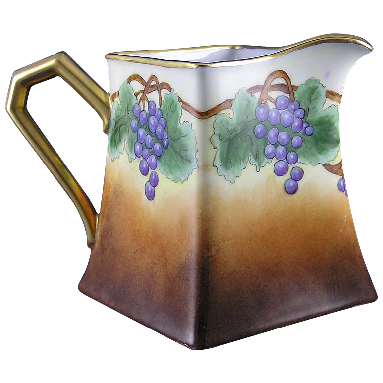 "Porcelain Limousine (PL) Limoges Grape Motif Pitcher (Signed ""J. Walters""/c.1905-1930)"