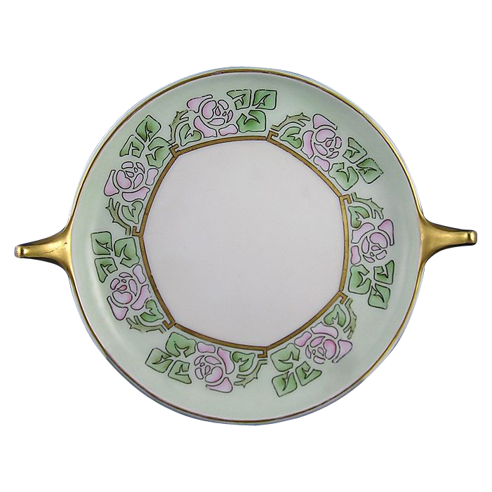 "Rosenthal Donatello Art Deco Rose Motif Handled Serving Plate/Dish (Signed ""BW""/c.1907-1930)"