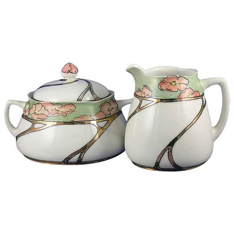 "Hermann Ohme Silesia Art Nouveau Poppy Motif Creamer & Sugar Set (Signed ""V. McKee""/Dated 1908)"