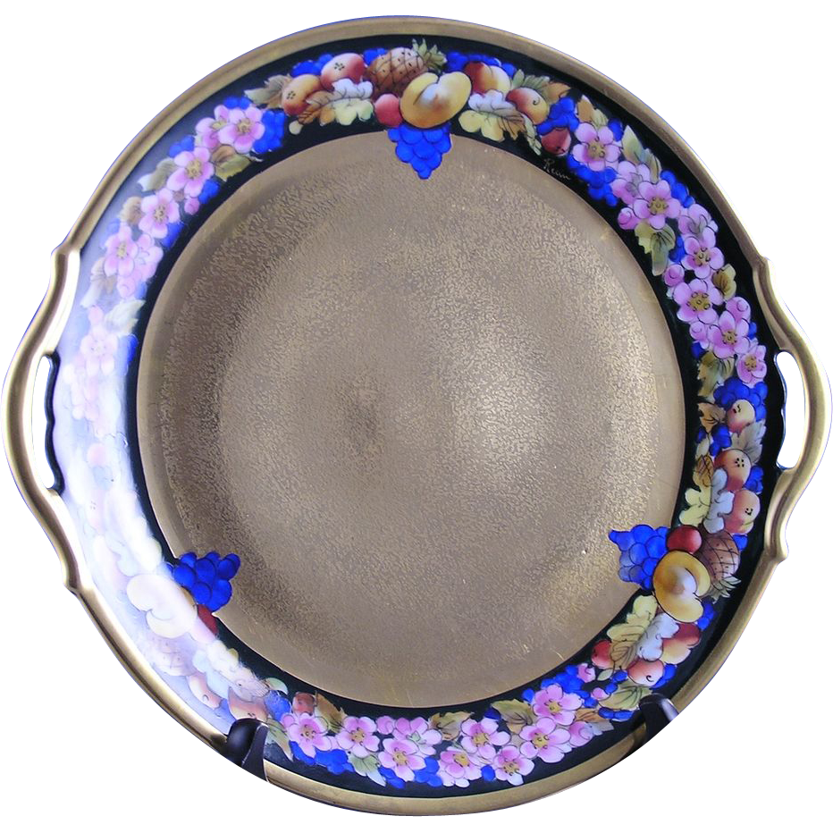 "Pickard Studios ""Encrusted Fruit"" Handled Plate (Signed ""Maxwell Rean Klipphahn""/c.1912-1918)"