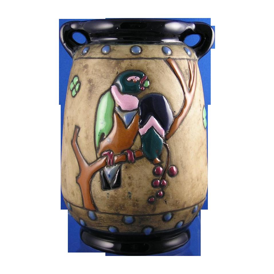 Amphora Austria Campina Parrots Motif Arts & Crafts Vase (c.1905-1910)