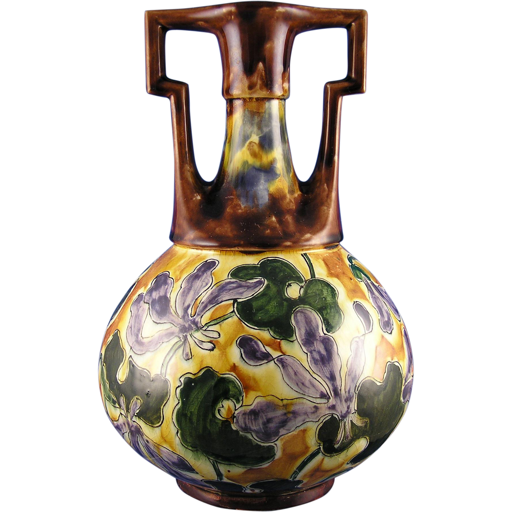 "Ernst Wahliss ""Habsburg Crown China"" Arts & Crafts Floral Vase (c.1903-1910)"