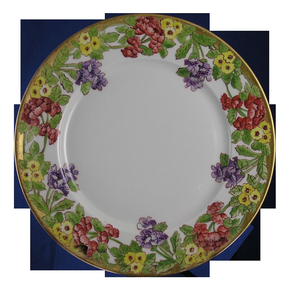 charles ahrenfeldt ca limoges floral motif plate. Black Bedroom Furniture Sets. Home Design Ideas