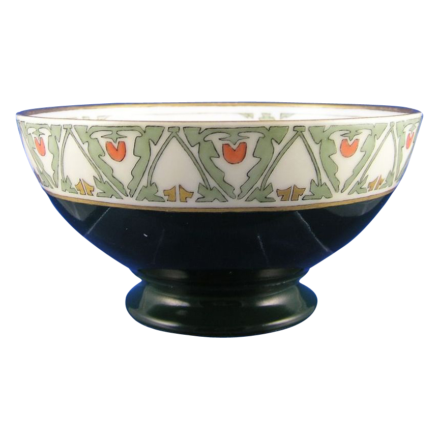 "Paroutaud Freres (P&P) Limoges Arts & Crafts ""Japanese Tomato Berry"" Design Bowl (Signed ""M. Diebel""/c.1913-1930) - Keramic Studio Design"
