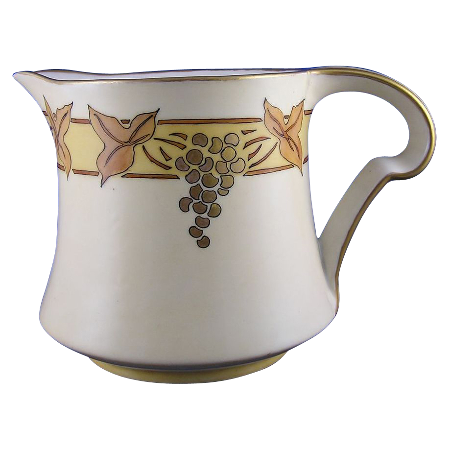 Porcelaine Limousine (PL) Limoges Arts & Crafts Grape Motif Pitcher (c.1905-1930's)