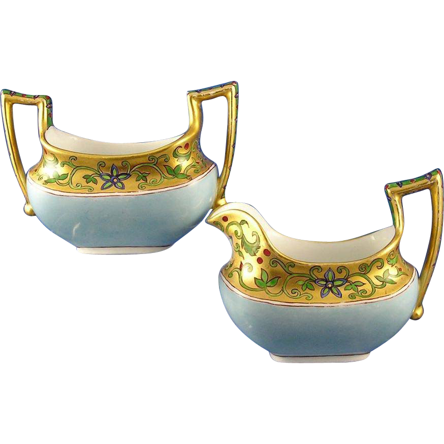 T&V Limoges Arts & Crafts Floral Motif Creamer & Sugar Set (c.1892-1907)