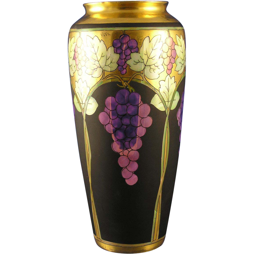 Rosenthal Bavaria Pickard Lustre Grapes & Leaves Vase (Signed Robert Hessler/c.1905-1910)