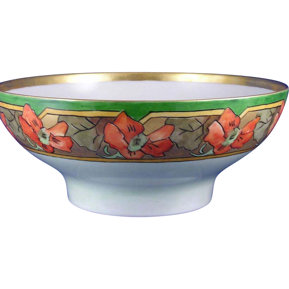 Haviland Limoges Arts & Crafts Nasturtium Motif Centerpiece Bowl (Signed/Dated 1911)