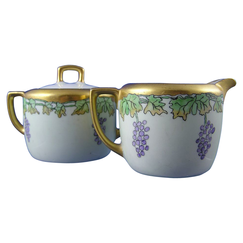 "Moritz Zdekauer (MZ) Austria Grape Motif Creamer & Sugar (Signed ""F. Bauersfeld""/Dated 1915)"