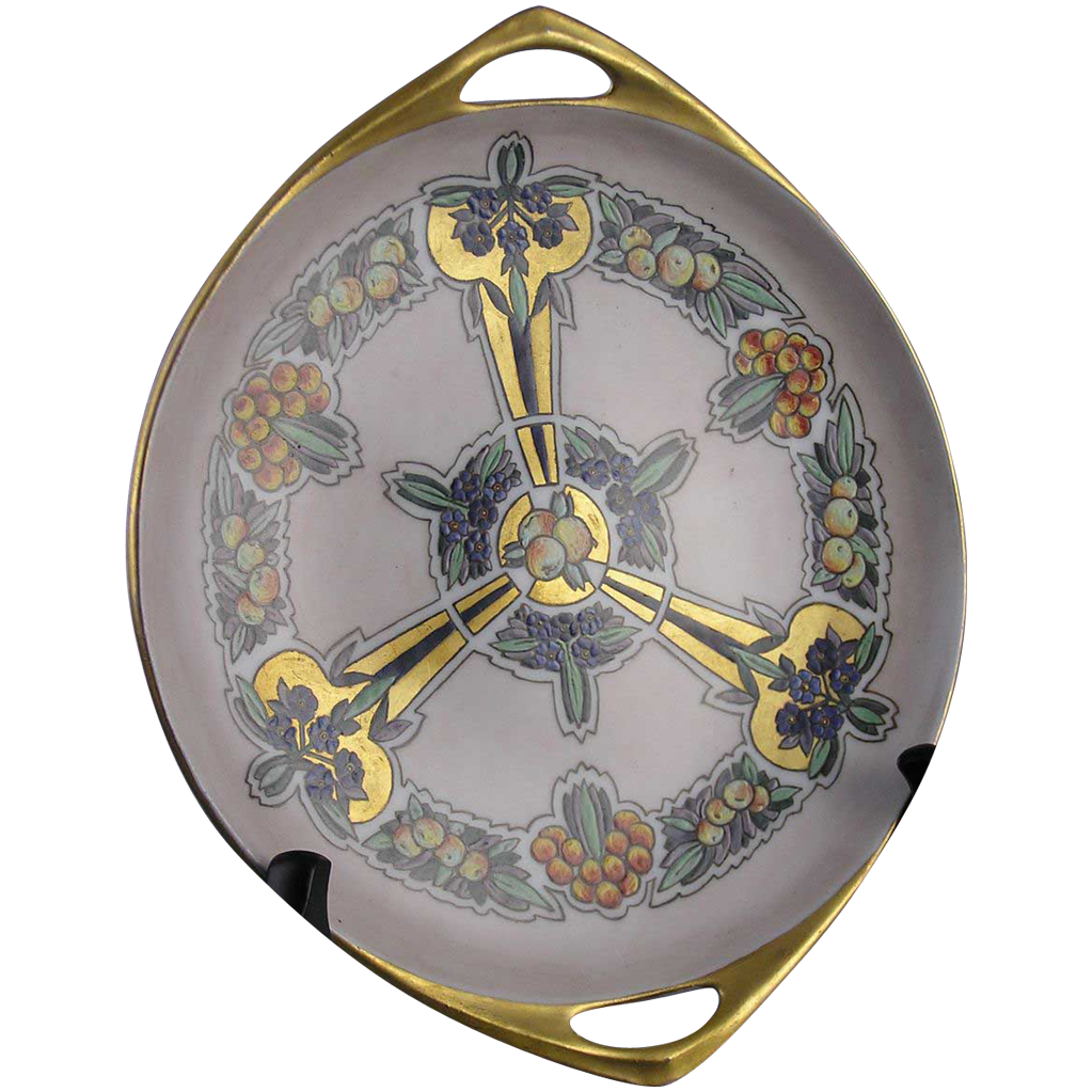 "PH Leonard Austria Art Deco Atlan Club Design Handled Dish (Signed ""White""/c.1890-1908)"