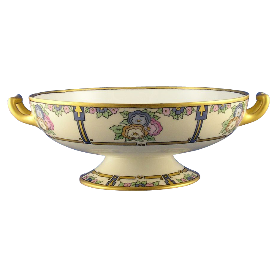 "Haviland Limoges Art Deco Floral Motif Handled Pedestal Bowl (Signed ""Grace Kautz""/Dated 1918)"