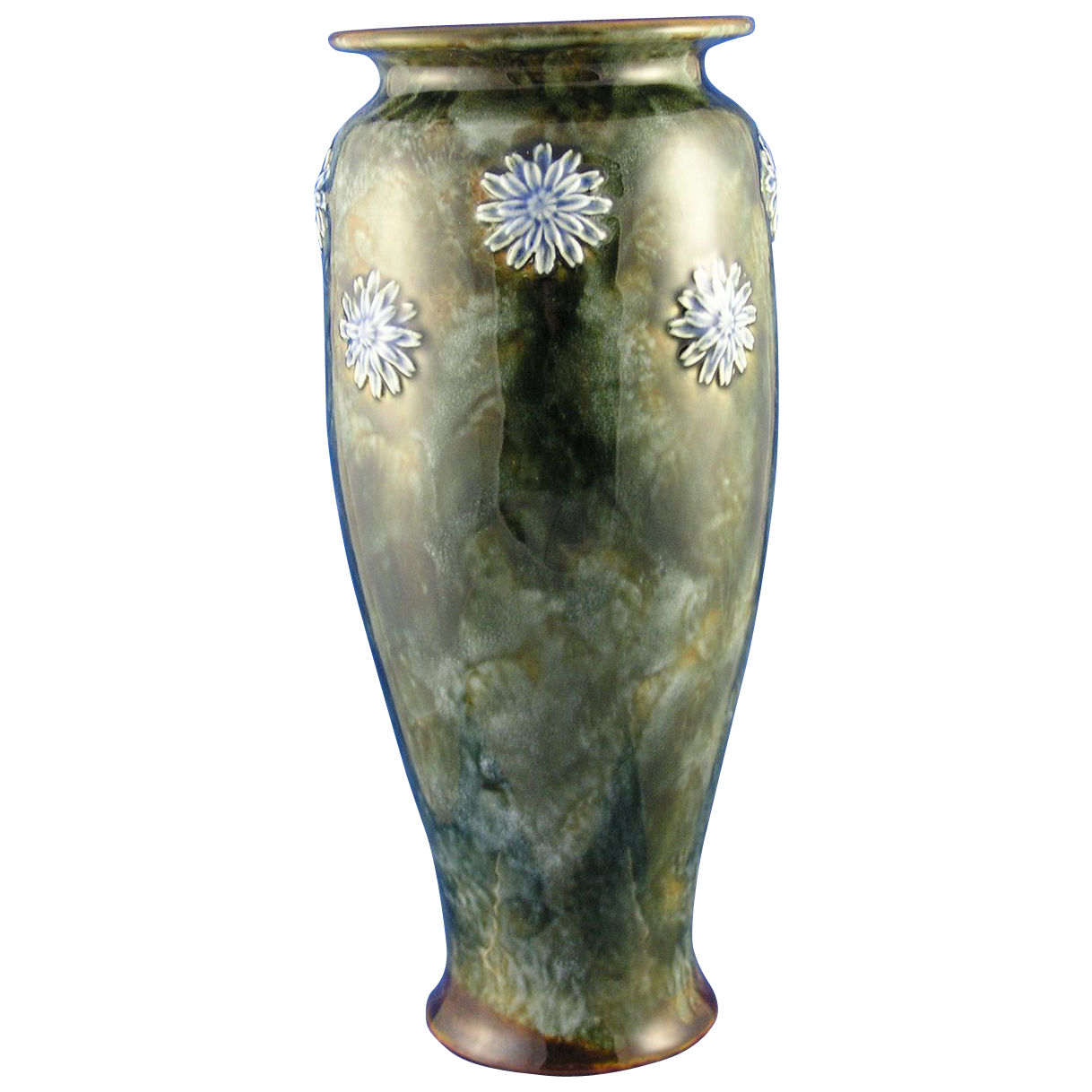"Royal Doulton Arts & Crafts Blue Floral Vase (Signed ""Lily Partington""/c.1923-1927)"