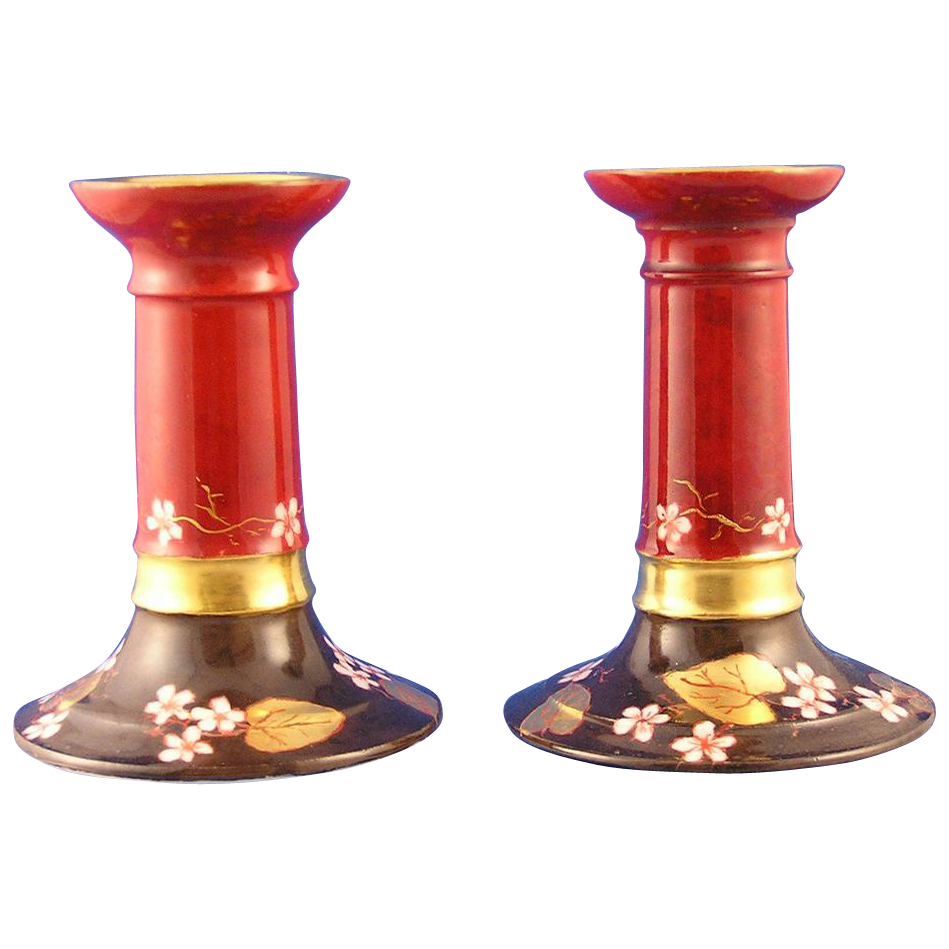 William Guerin & Co. (WG&Co) Limoges Arts & Crafts Candlesticks Pair (Signed/c.1900-1932)
