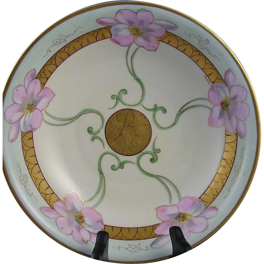 "GDA Limoges White's Studio Chicago Floral Motif Bowl (Signed by Pickard Artist ""Alfred Keates"" /c.1914-1923)"