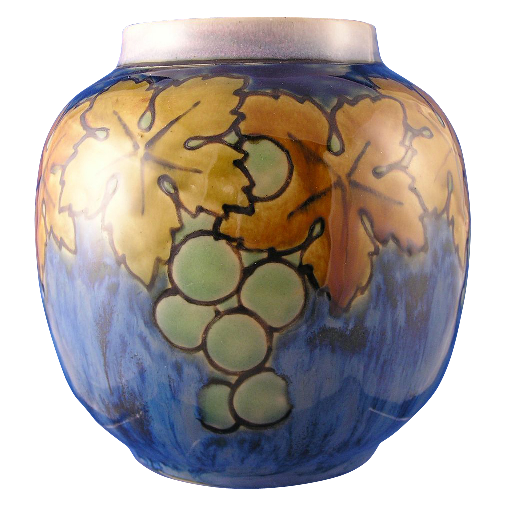 "Royal Doulton Arts & Crafts Grape Motif Vase (Signed ""Bessie Newberry""/c.1923-1927)"