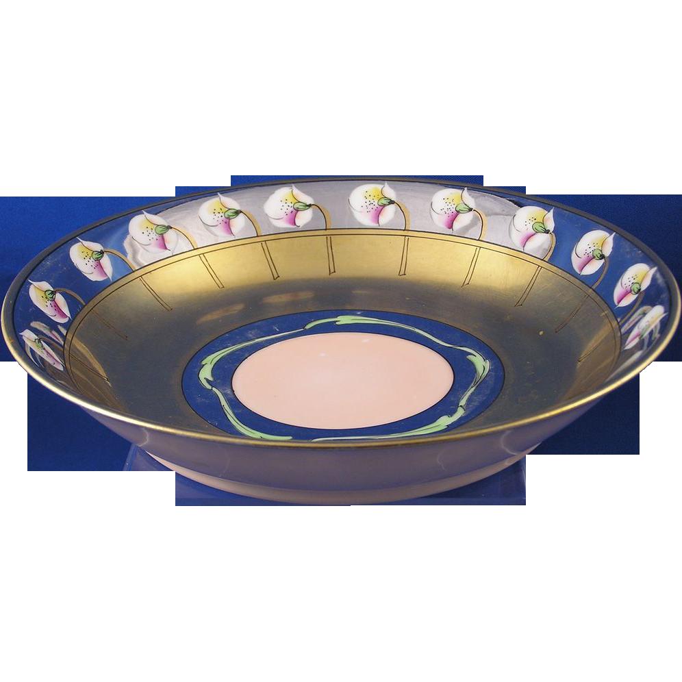 "Haviland Limoges Pickard Studios ""Poppies & Platinum"" Pattern Bowl (Signed ""AP"" Arthur Passony/c.1905-1910)"