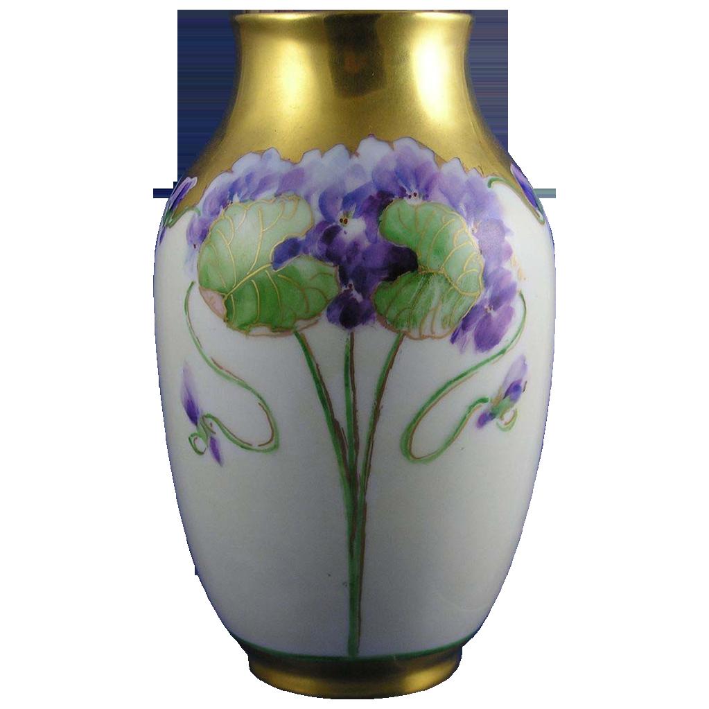 """Rosenthal (RC) Bavaria Violet Motif Vase (Signed """"B.C.""""/c.1901-1956)"""