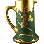 "Charles Martin Limoges Pickard ""Etched Gold Rose on Matte Green"" Pattern Pitcher (Signed by John Anton Coufall/c.1903-1910)"