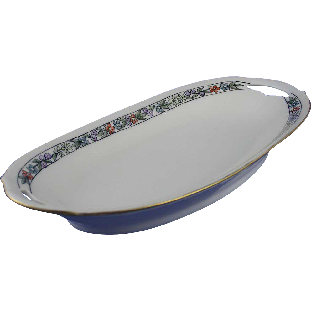 "KPM Germany Art Deco Floral Motif Serving Dish (Signed ""J. Reid""/c.1904-1938)"