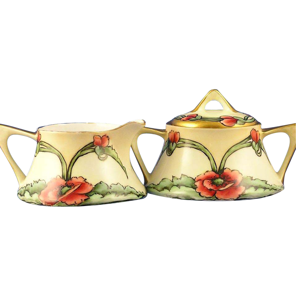 Zeh, Scherzer & Co. (ZS&Co) Bavaria Arts & Crafts Poppy Motif Creamer & Sugar Set (c.1880-1930)