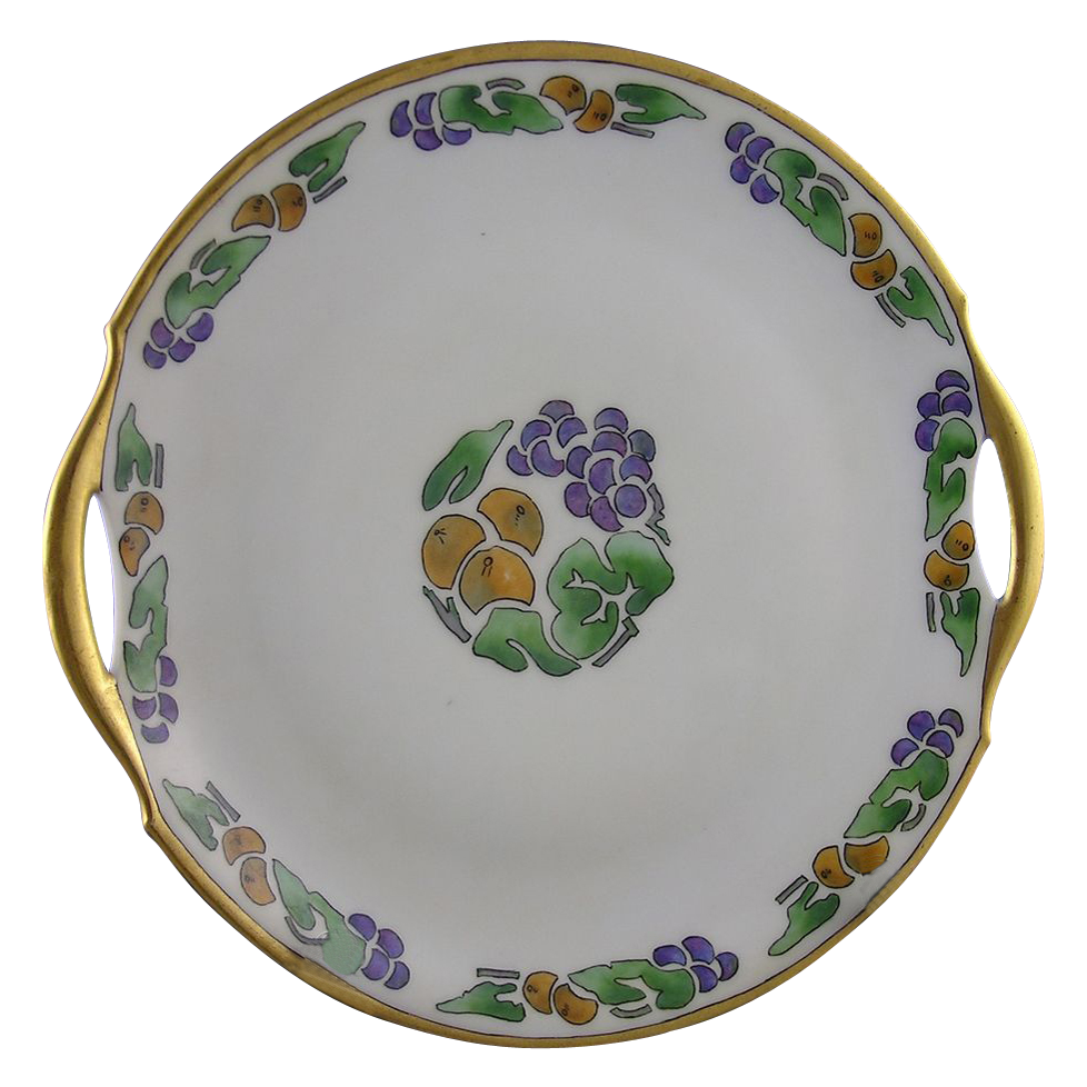 "Bavaria Arts & Crafts Fruit Motif Handled Serving Plate (Signed ""D. Burrowes""/c.1920-1935)"