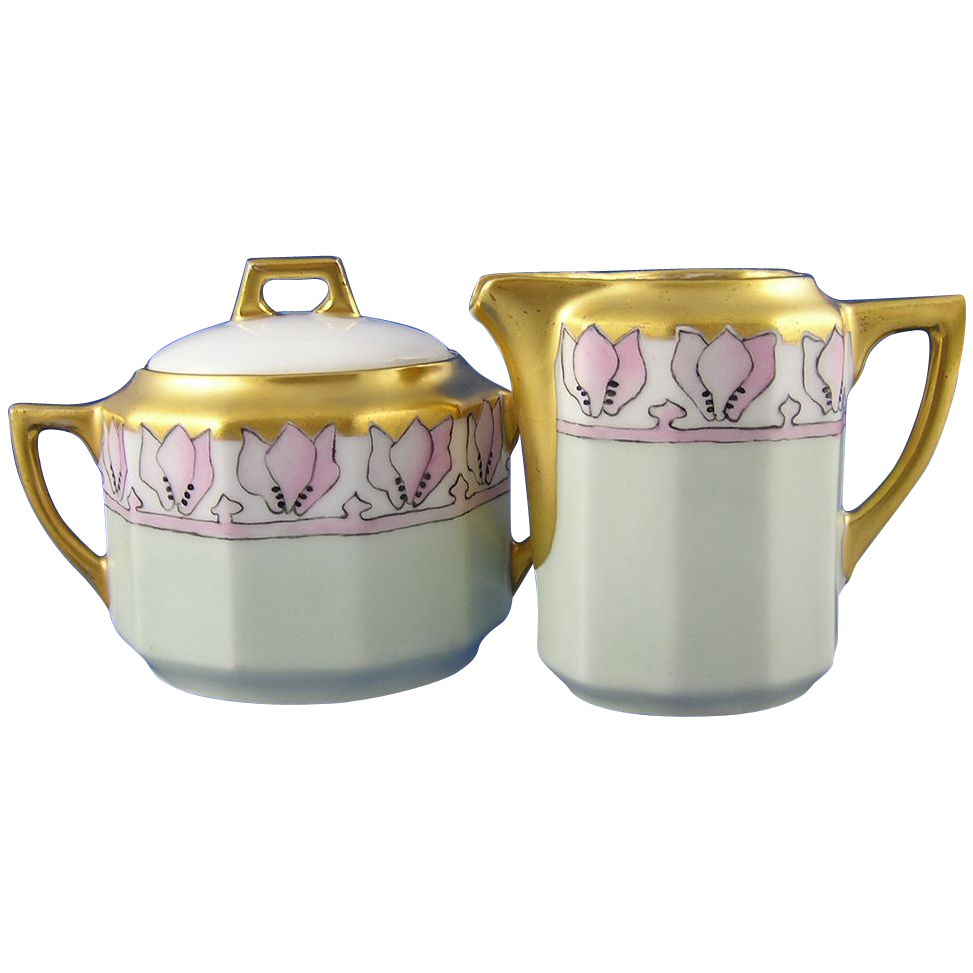 C. Tielsch (CT) Altwasser Arts & Crafts Creamer & Sugar Set (Signed/c.1875-1934)