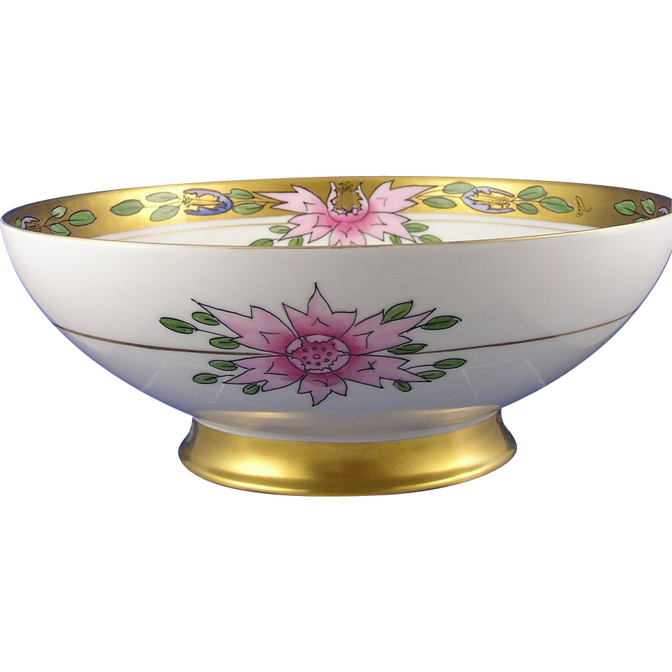 "Haviland Limoges Pickard Artist Art Deco Centerpiece/Punch Bowl (Signed ""Rean"" for Maxwell Rean Klipphahn/c.1894-1931)"