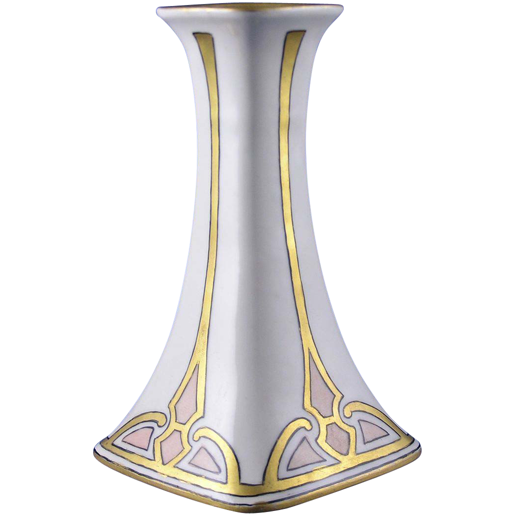 "Porcelain Limousine (PL) Limoges Art Deco Candlestick (Signed ""Shere Irwin""/c.1905-1938)"
