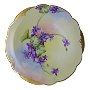 """Rosenthal Bavaria Pickard Studios Violet Motif Plate (Signed """"Florence James""""/c.1905-1910)"""