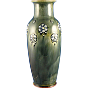 "Royal Doulton Arts & Crafts Green with Blue Floral Motif Vase (Signed ""Lily Partington"" /c.1923-1927)"