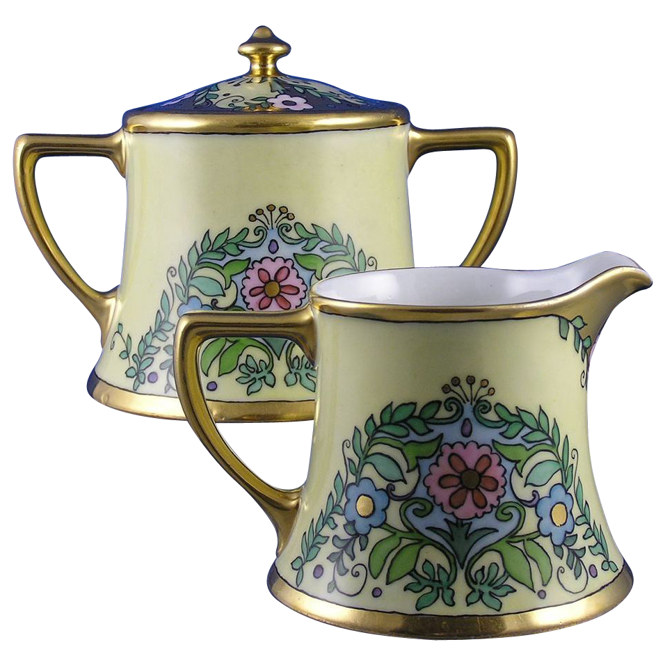 "William Guerin (WG&Co.) Limoges Arts & Crafts Floral Motif Creamer & Sugar (Signed ""Mayme Gatema""/c.1900-1932)"