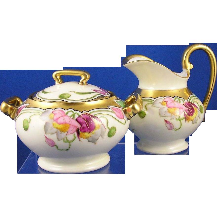 Stouffer Studios T&V Limoges Floral Motif Creamer & Sugar Set (Signed/c.1905-1906)