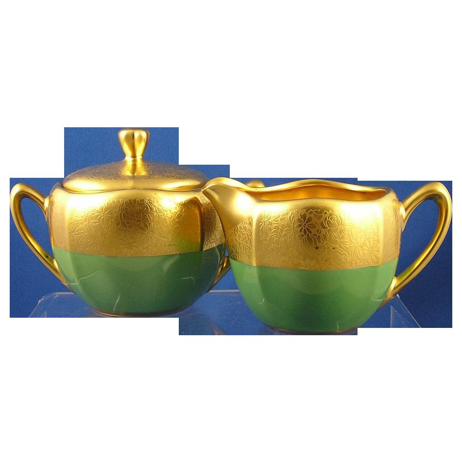 "RS Germany Pickard Studio Green & Gold ""Rose & Daisy AOG"" Creamer & Sugar Set (c.1925-1930)"