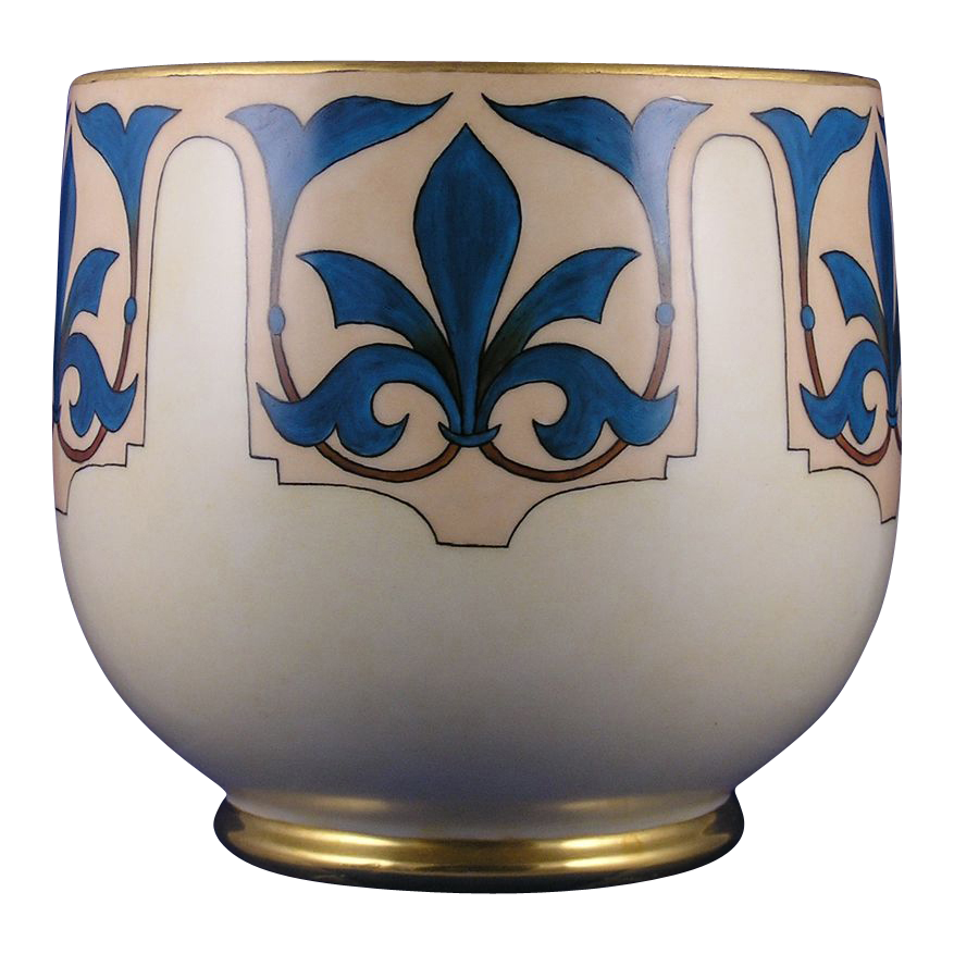 """William Guerin & Co. (WG&Co.) Limoges Fleur de Lis Motif Vase/Jardinière (Signed """"Nazareth, KY""""/c.1900-1932)"""