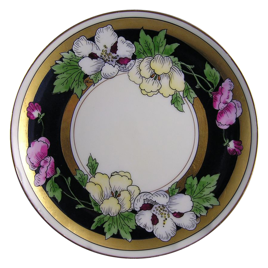 "Haviland Limoges White's Art Co. Chicago Poppy Motif Plate (Signed ""Kenar""/c.1914-1923)"