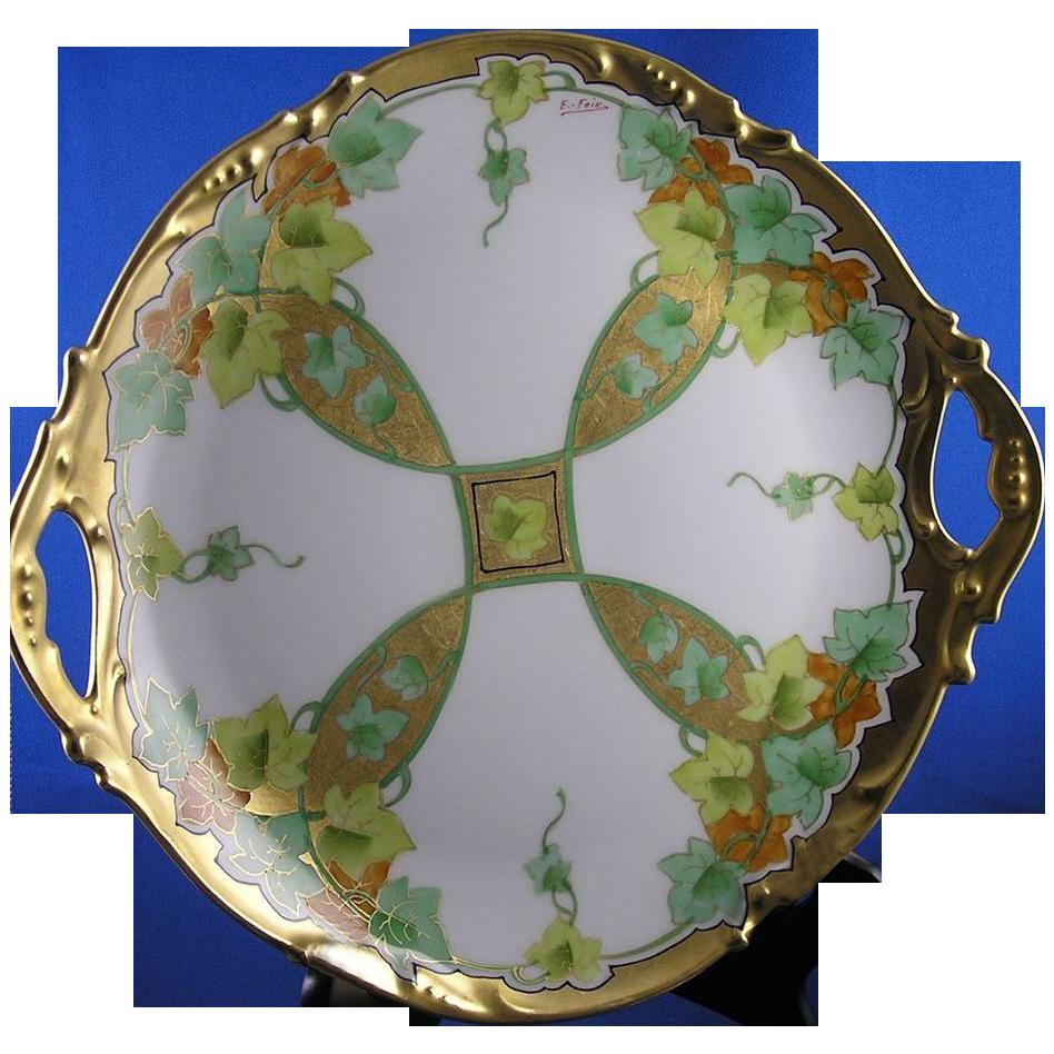 """Jean Pouyat (JP) Limoges Stouffer Studios Autumn Leaf & Vine Motif Plate (Signed """"E. Feix""""/c.1906-1914)"""