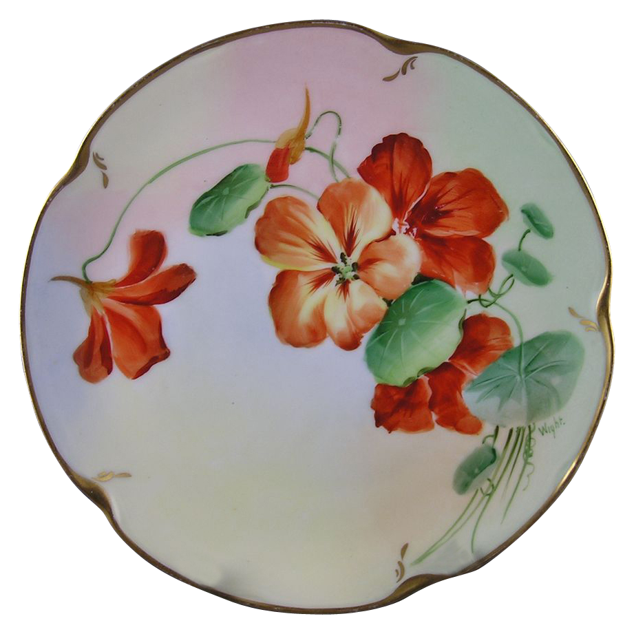 "Jaeger & Co. (J&C) Bavaria Pickard Studios Nasturtium Design Plate (Signed ""Phillip Wight""/c.1905-1910)"