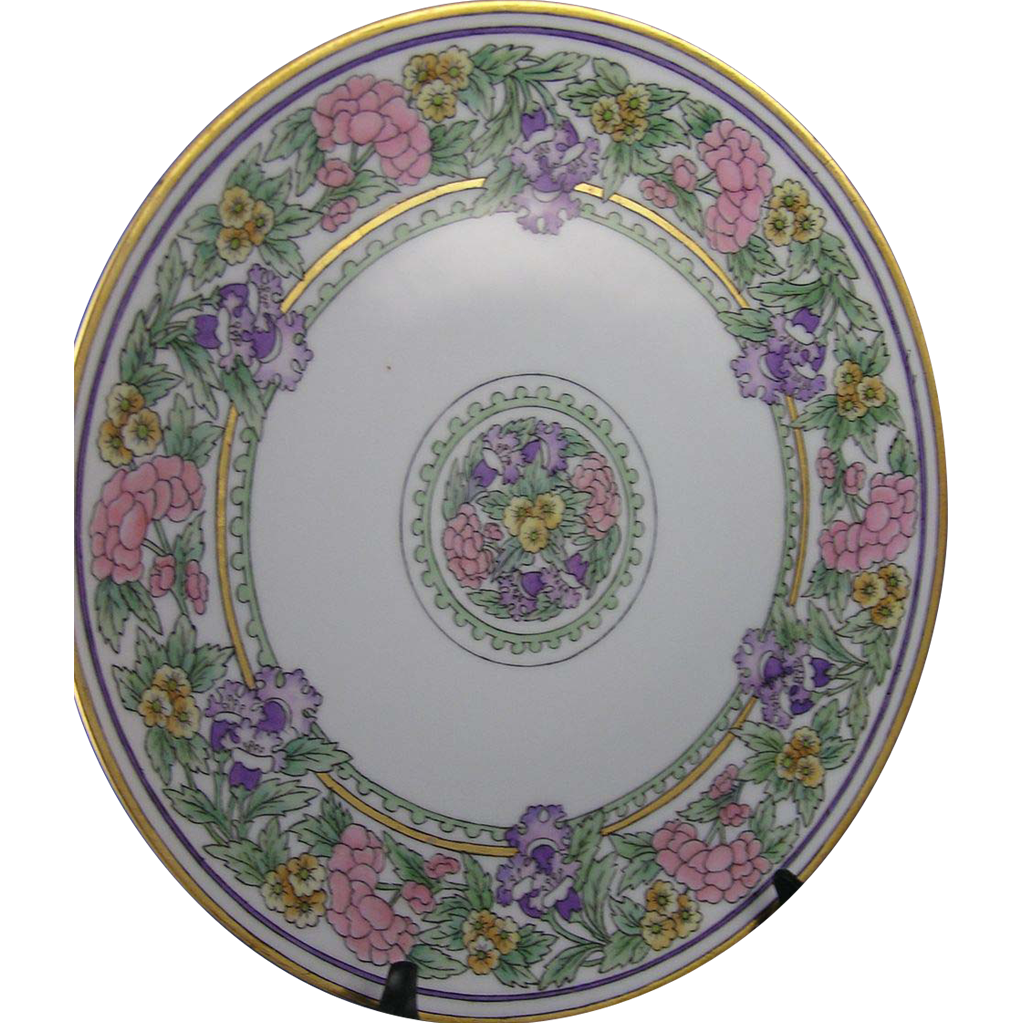 Thomas Bavaria Floral Motif Arts & Crafts Plate/Charger (Signed/c.1908-1930) - Keramic Studio Design