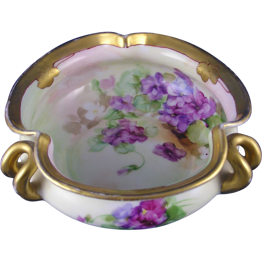"Jaeger & Co. (J&C) Bavaria Pickard Violet Motif Bowl (Signed ""Reury""/c.1903-1905)"