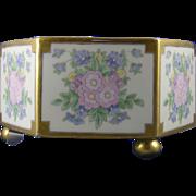 """T&V Limoges Depose Floral Centerpiece Bowl/Ferner (Signed """"Alma A. Lange""""/c.1907-1919)"""