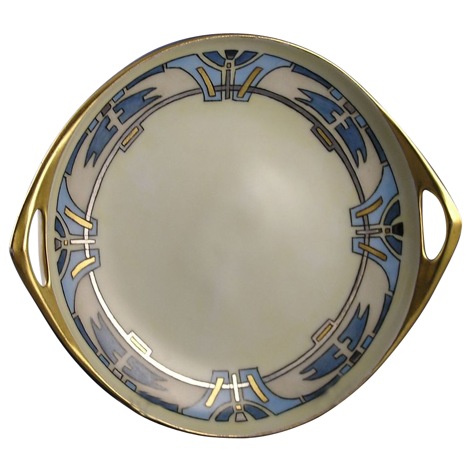 "Bavarian Blank Arts & Crafts Handled Serving Plate/Dish (Signed ""M.E. Schlechter""/c.1920-1940)"