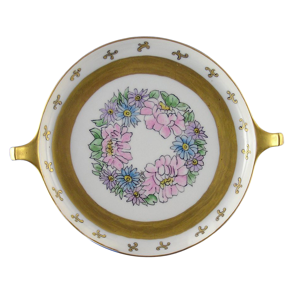 "Jaeger & Co. (J&C) RS Tillowitz Selesia Arts & Crafts Floral Motif Handled Serving Plate/Dish (Signed ""Ruby Y. Dillman""/c.1904-1938)"
